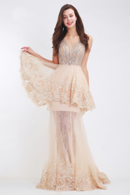 A-Line/Princess Lace Floor-Length Best Long Prom Dresses