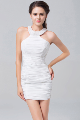 Sheath/Column Jewel Neck Mini-Length Elastic Satin Cocktail Dress with Pearls