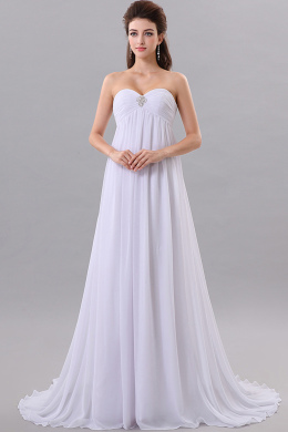 A-Line Sweetheart Neckline Sweep Train Chiffon Bridesmaid Dresses with Applique