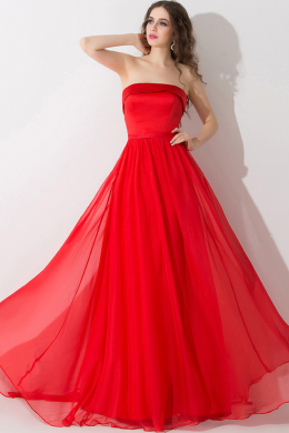 A-Line/Princess Strapless Floor-Length Chiffon Prom Dress with Pleats