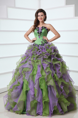 Ball Gown Strapless Floor Length Organza Quinceanera Dresses with Applique