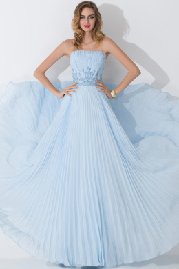 A-Line/Princess Strapless Floor Length Chiffon Prom Dress with Pleats