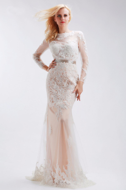 Sheath/Column Lace Floor-Length Best Long Prom Dresses