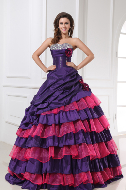 Ball Gown Strapless Floor Length Taffeta Quinceanera Dresses with Beads