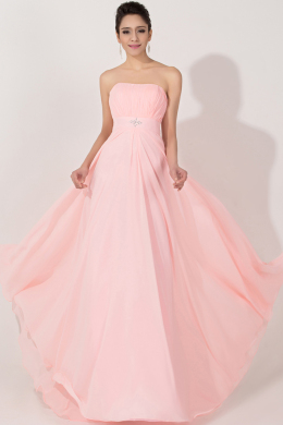 A-Line/Princess Strapless Floor-Length Chiffon Formal Dress with Beaded