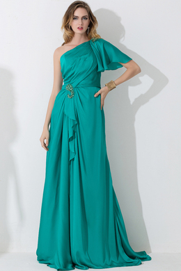 A-Line/Princess One-Shoulder Floor Length Chiffon Bridesmaid Dress with Front Slit