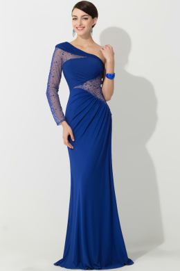 Sheath/Column One-Shoulder Floor Length Chiffon Evening Dress with Beads