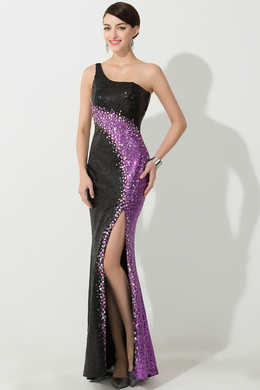Sheath/Column One-Shoulder Floor Length Sequined Evening Dress with Front Slit