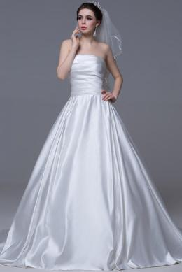 Ball Gown Strapless Court Train Elastic Satin Wedding Dress with Lace