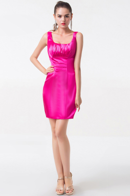 Sheath/Column Square Neckline Mini Length Satin Cocktail Dress with Pleats
