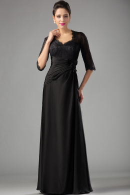 Sheath/Column Jewel Floor Length Elastic Satin Mother of the Bride Dresses with Lace