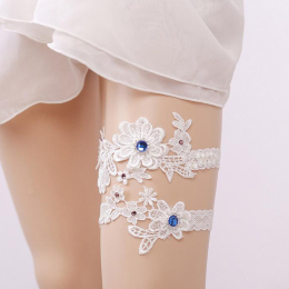 Vintage Lace Bridal Wedding Garters with Rhinestone