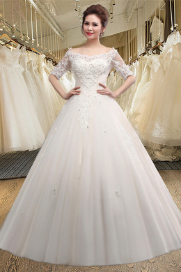 A-Line/Princess Tulle Floor Length Elegant Cheap Wedding Dresses