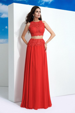 A-Line/Princess Chiffon Floor Length Formal Dress Wedding Guest