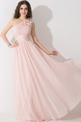 A-Line/Princess One-Shoulder Floor Length Chiffon Bridesmaid Dress with Flowers