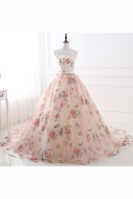 Ball Gown Organza Sweep Train Pink Long Prom Dresses