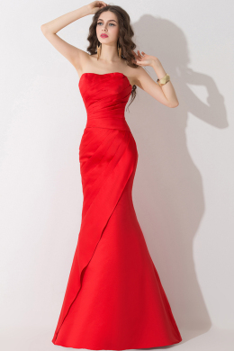 Trumpet/Mermaid Strapless Floor Length Elastic Satin Evening  Dresses  With Pleats