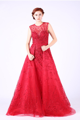 A-Line/Princess Tulle Sweep Train Stores for Formal Dresses