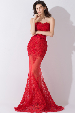 Trumpet/Mermaid Sweetheart Neckline Sweep Train Tulle Evening Dresses with Bow