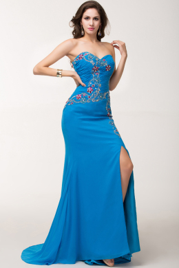 Sheath/Column Strapless Floor Length Chiffon Evening Dress with Slit