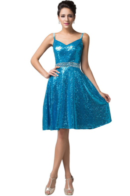 A-Line/Princess Sequined Short/Mini Evening Dresses Cocktail Dresses