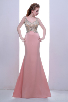 Sheath/Column Sweetheart Neckline Floor-Length Elastic Satin Evening Dress with Beads