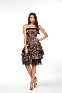 A-Line Strapless Knee Length Elastic Satin Cocktail Dress with Camo