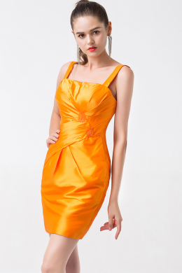 Sheath/Column Spaghetti Mini Elastic Satin Prom Dresses With Pleats
