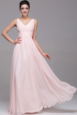 A-Line/Princess V-Neck Floor Length Chiffon Bridesmaid Dresses with Pleats