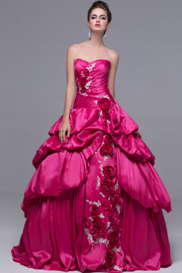 Ball Gown Strapless Floor Length Satin Quinceanera Dress with Flowers