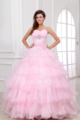 Ball Gown Strapless Floor Length Organza Quinceanera Dresses with Beads