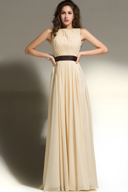 A-Line/Princess Jewel Neck Floor Length Chiffom Bridesmaid Dress with Pleats