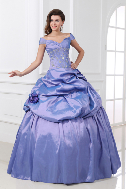 Ball Gown Off the Shoulder Floor Length Taffeta Quinceanera Dresses with Beads