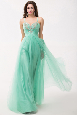 A-Line/Princess Spaghetti Straps Floor Length Tulle Prom Dress with Sequins
