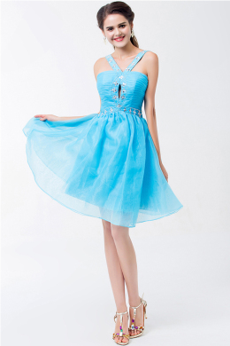 A-Line/Princess Spaghetti Short/Mini Tulle Cocktail Dresses With Beads