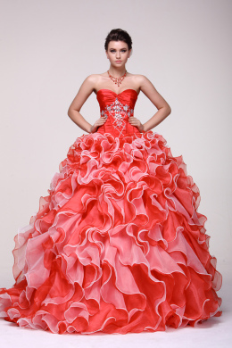Ball Gown Strapless Floor Length Taffeta Quinceanera Dresses with Beadings