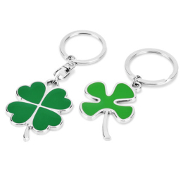 Silver and Green Color High Quality Zinc Alloy Four-leaf Clover Fortune Keychain