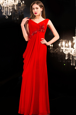 A-Line/Princess V-Neck Floor Length Chiffon Prom Dresses with Applique