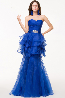 Sheath/Column Strapless Detachable Tulle Prom Dress with Beads