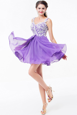 A-Line Sweetheart Neckline Short Chiffon Cocktail Dress Appliques