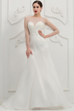 Trumpet/Mermaid Sweetheart Neckline Floor Length Organza Wedding Dress with Beadings