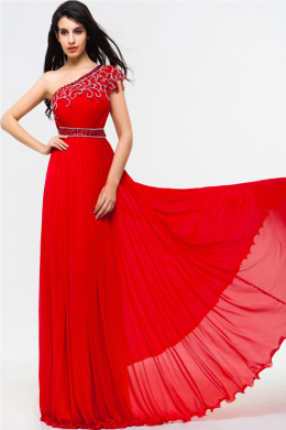 A-Line/Sheath One-Shoulder Floor Length Chiffon Evening Dresses With Applique