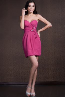 Sheath/Column Strapless Mini-Length Satin Cocktail Dress with Flowers