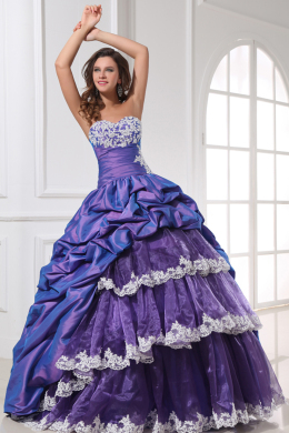 Ball Gown Strapless Floor Length Taffeta Quinceanera Dresses with Applique