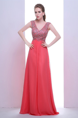 A-Line/Princess V-Neck Floor Length Chiffon Prom Dress with Beadings