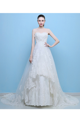A-Line/Princess Lace Court Train Wedding Dresses And Gowns