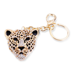 Keychain with Rhinestone Leopard For Purses and Bags