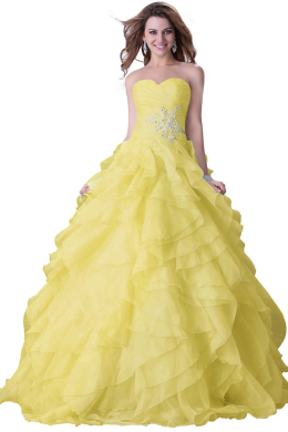Ball Gown Organza Floor-Length Quinceanera Dresses for Girls