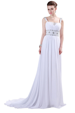 A-Line/Princess Chiffon Sweep Train Wedding Dresses and Gowns