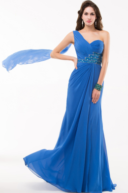 A-Line One-Shoulder Floor Length Chiffon Prom Dress Pleated